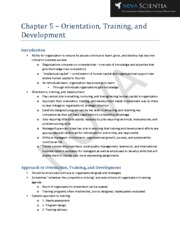 Chapter 5 - Orientation, Training, and Development