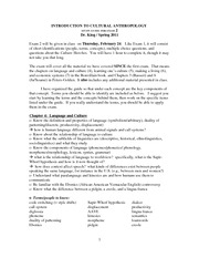 cultural anthropology exam study guide This course focuses on cultural anthropology, the study of the  exam one  consists of 50 questions organized into five sections, each section.