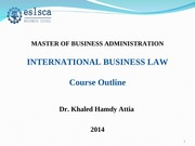 lecture 2 course objectives International business Law