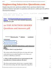 20 TOP JUNCTION DIODES Questions and Answers pdf JUNCTION DIODES Interview Questions and Answers.pdf