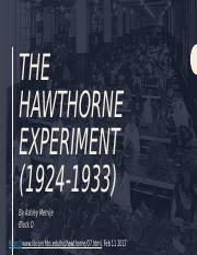 ASHLEY MEMIJE - THE HAWTHORNE EFFECT EXPERIMENT.pptx
