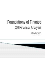 2.0 Financial Analysis - Introduction