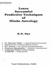 Predictive techniques in vedic astrology pdf free