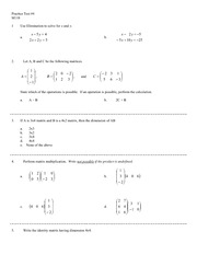 Linear System of Equations Exam and Answers