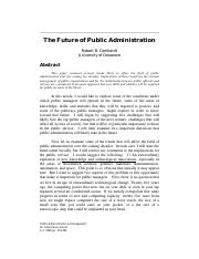 The Future of Public Administration