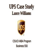 UPS Case study by Lance Williams.ppt