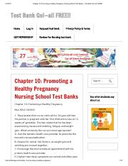 Chapter 10_ Promoting a Healthy Pregnancy Nursing School Test Banks - Test Bank Go!-all FREE!!