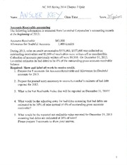 AC 315 Spring 2014 - Chapter 7 Cash and Receivables - Quiz Answer Key