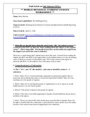World Regional Article Worksheet (SubSaharan Africa).docx