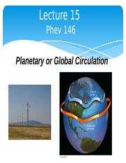 Lecture 15 Global Circulation