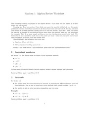Algebra Review Worksheet
