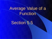 5.5 Average Value of a Function