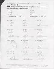 9 7 Worksheet Solving Quadratic Formulas With Square Roots Name