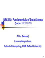 Depaul Fall 2020.Lecture1 Tr Pdf Dsc441 Fundamentals Of Data Science