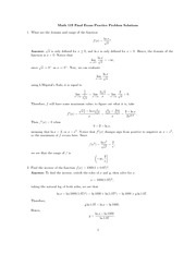 Practice Final Exam Solution on Single Variable Calculus Fall 2009