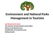 Environment and National Parks Management in Tourism - 2