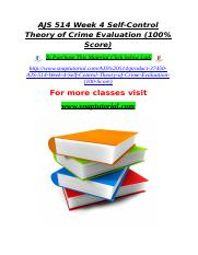 AJS 514 Week 4 Self-Control Theory of Crime Evaluation (100% Score).doc