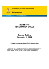 MGMT 3721 Course Outline (Part A) S1 2014