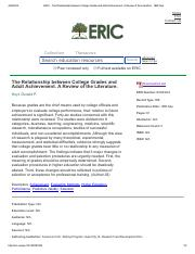 ERIC - The Relationship between College Grades and Adult Achievement. A Review of the Literature