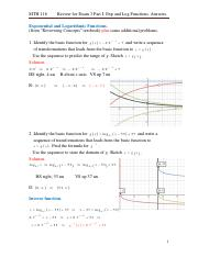 Review for Exam 3 Part I. Exp and Log Functions. Answers.pdf