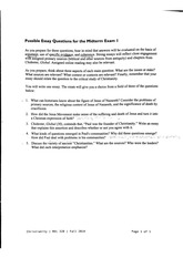 Essay Questions on Religion, Jesus Movement, Chidester, Paul, Christianities