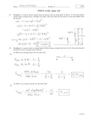 PHYS 1150 Summer 2014 Quiz 3 Solutions