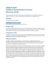 CS6300 - Syllabus pdf - OMSCS 6300 Software Development Process