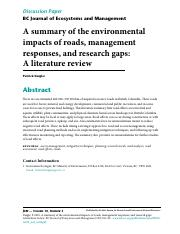 A summary of the environmental impacts of roads, management, responses- a literature review.pdf