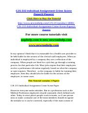 CJS 215 Individual Assignment Crime Scene Paper(2 Papers).doc