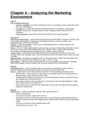 Study Guide - Chapter 4 - Analyzing the Marketing Environment