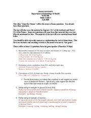 KNH 188 Exam 1 Study Guide