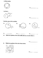 Geometry circles cont. worksheet