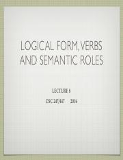 Lecture 8 LF verb and roles