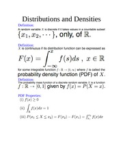 Distributions and Densities