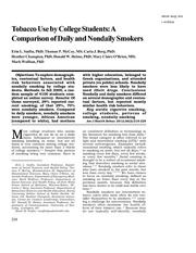 Sutfin EL (2012) Tobacco use by college students a comparison of daily and nondaily smokers