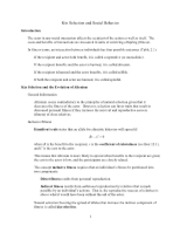 Lecture 11 Notes - Kin Selection and Social Behavior