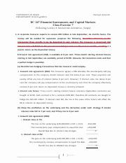 International finance EC 247 Financial Instruments and Capital Markets Class Exercise 7 (Following L