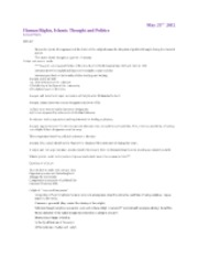 Human Rights, Islamic Thought and Politics Lecture Notes - May 23rd 2012