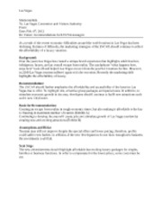 marketing case memo-las vega MKTG 3101