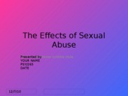 Week Eight - PSY 265 - Assignment - The Effects of Sexual Abuse