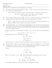 Quiz D Solutions on Introduction to Ordinary Differential Equations