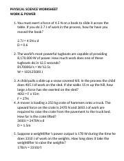 Worksheet Work And Power Key 2 Physical Science Worksheet Work