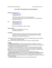 Econ425-Outline, Syllabus-Introduction to Econometrics-2014 Spring Term 2