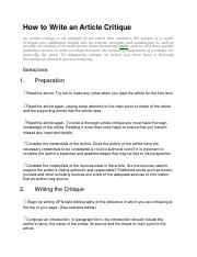 how to write article critique