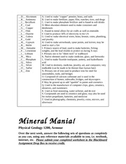 Minerals worksheet and answers