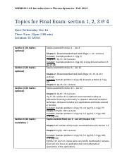 CHEM2011 topics for section 1, 2 , 3 and 4 of Final exam ,2015