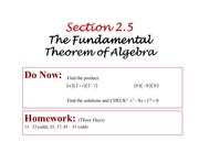 PreCalc 2.5 The fundamental Theorem of Algebra.