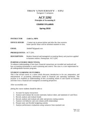 ACT 2292 Fall 2010- STU Syllabus