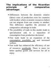 Ricardian model of international trade example