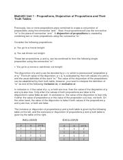 Math203 Unit 1 - Propositions, Disjunction of Propositions and Their Truth Tables